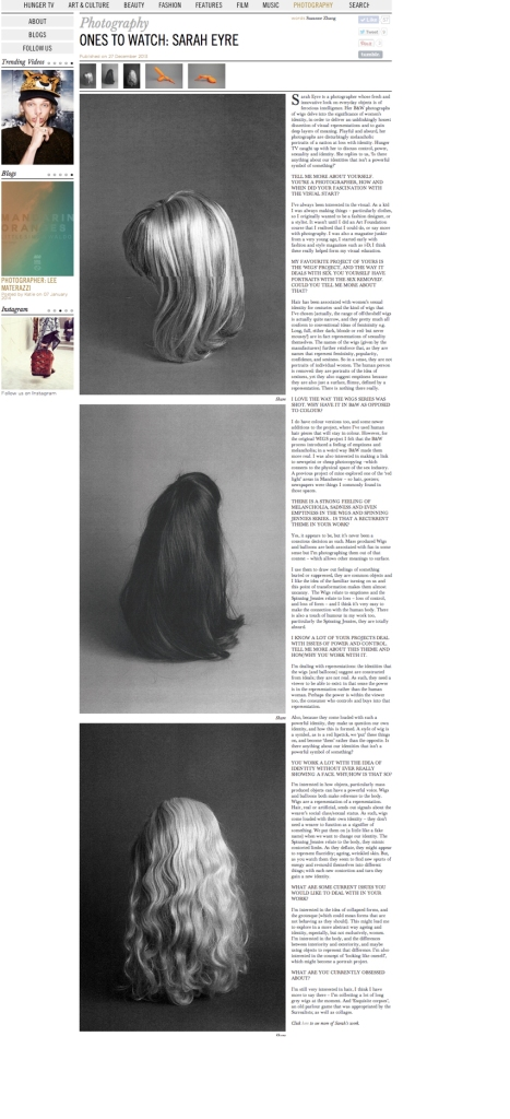 Hunger Magazine article